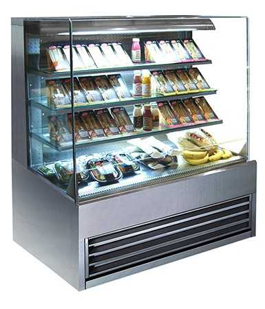 Stainless Steel Grab and Go Flat Glass Patisserie Cabinet