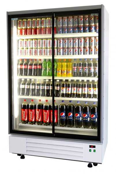 Frost Tech Upright Large Double Sliding Door Display